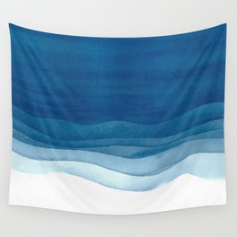 Watercolor blue waves Wall Tapestry