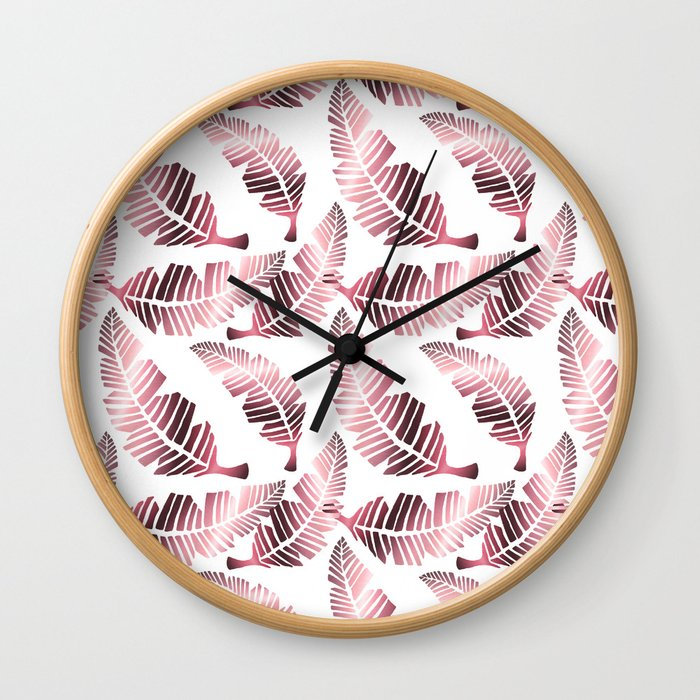 Modern mauve pink tropical summer leaves pattern Wall Clock