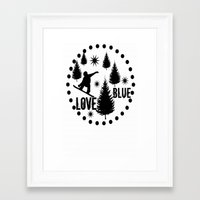snowboard Framed Art Prints featuring Forest Snowboard Love Blue by Patti Friday