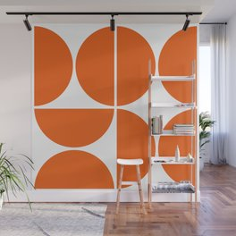 Mid Century Modern Orange Square Wall Mural