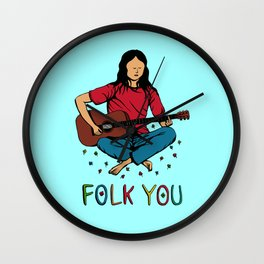 Folk You Guitar Hippie Wall Clock