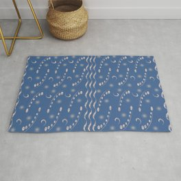 French Blue Antiqued Musical Notes Honey Locust Print Rug