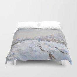 Snow Scene at Argenteuil by Claude Monet Duvet Cover
