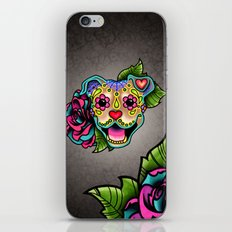 Smiling Pit Bull in Fawn - Day of the Dead Happy Pitbull - Sugar Skull Dog iPhone & iPod Skin