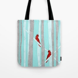 Holiday Forest Cardinals Design Tote Bag
