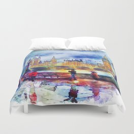 London Rain watercolor Duvet Cover