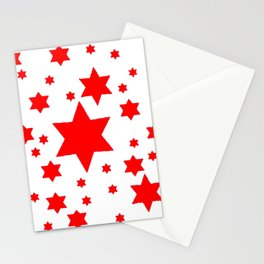 JULY 4TH  RED STARS DECORATIVE DESIGN Stationery Cards