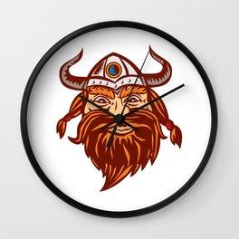 Viking Warrior Head Angry Isolated Retro Wall Clock