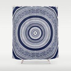 Denim Mandala Shower Curtain