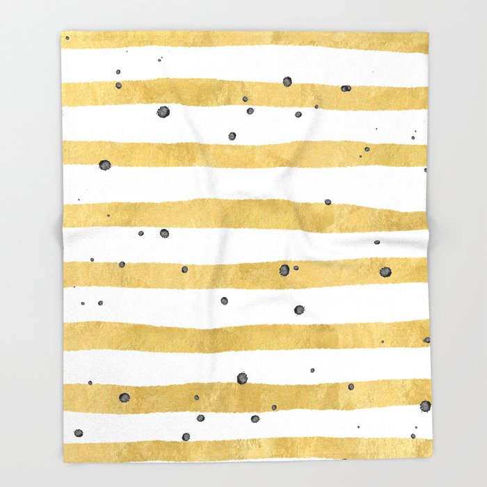 Modern Hand Painted Yellow Gold Black Watercolor Splatters Stripes