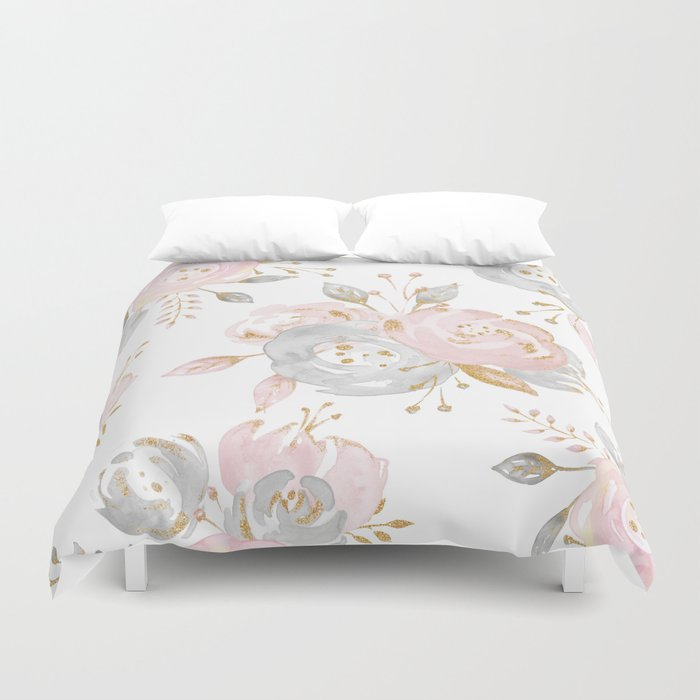 Roses Gold Glitter Pink by Nature Magick Duvet Cover