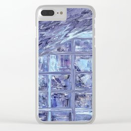 Between The Lines (Blue) Clear iPhone Case