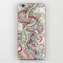 Beautiful Vintage Map of the Mississippi River iPhone Skin