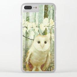 Barn Owl in Snowy Winter Woodland Clear iPhone Case