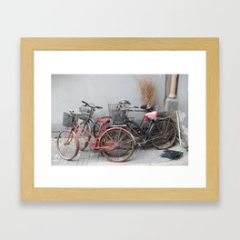Bicycle Stand Framed Art Print