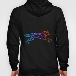 Colorful Tribal Running Wolf Hoody