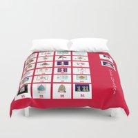 calendar Duvet Covers featuring Christmas Advent Calendar Print by KarenHarveyCox