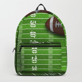 Football Field with Yard Lines and Football Backpack