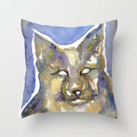 copper Throw Pillows featuring Copper by Bootsies Watercolor Kittys