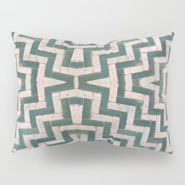 Moroccan floor tiles in green and white chevron Pillow Sham