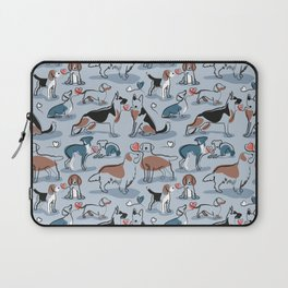 Woof endless love // pastel blue background coral hearts continuous lined pair of dog breeds Laptop Sleeve
