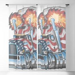 Patriotic American Flag Semi Truck Tractor Trailer Big Rig Cartoon Sheer Curtain