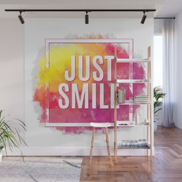 Just Smile motivation square watercolor stroke poster. Text lettering of an inspirational saying. Qu Wall Mural