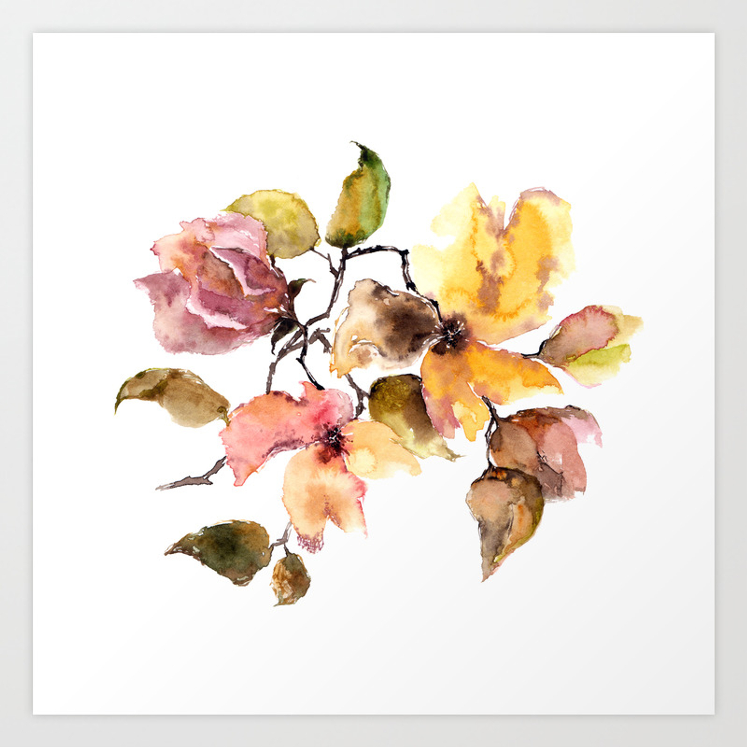 Fall Leaves Watercolor Flowers Vintage Florals Art Print By