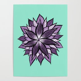 Purple Mandala Like Abstract Flower Poster