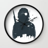 tintin Wall Clocks featuring John Carpenter's Escape From New York by Alain Bossuyt