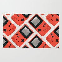 gameboy Area & Throw Rugs featuring Gameboy Color: Red (Pattern) by Zeke Tucker
