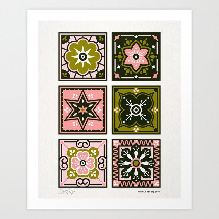 Talavera Mexican Tile – Blush & Sage Palette Art Print