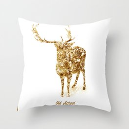 Old School Rocks! Gold Deer Version Throw Pillow