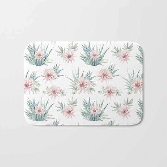 Cactus Rose Succulent Garden Bath Mat