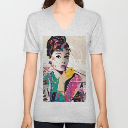 Audrey Hepburn All Diamond Crystal Drills For Home Decoration Unisex V-Neck