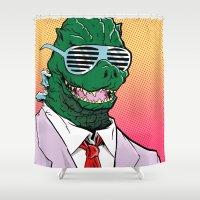 kaiju Shower Curtains featuring Kaiju Kool Kids_Big G by Dan DaLoia