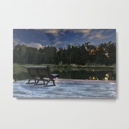 Lonely bench in the sunset Metal Print