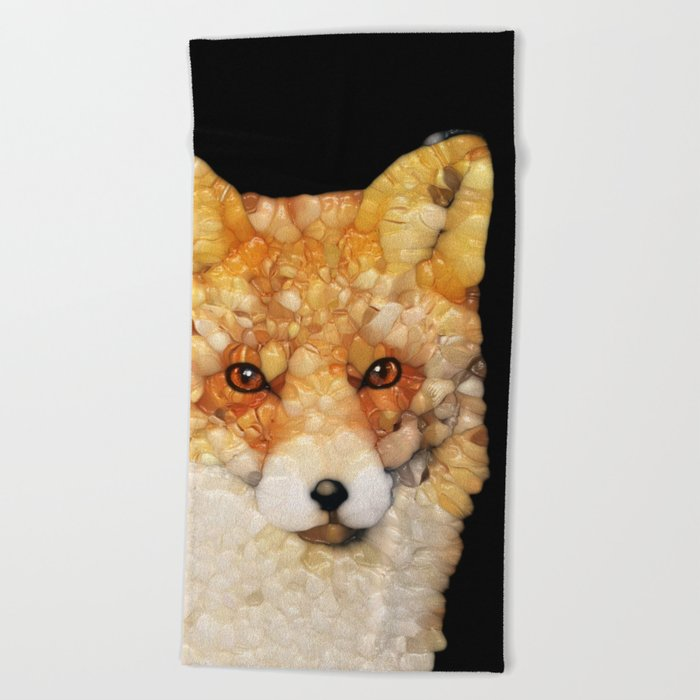 Red Fox Abstract Beach Towel