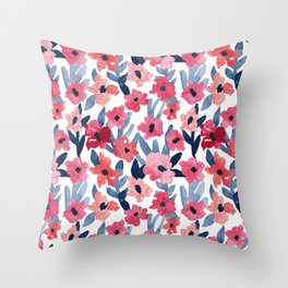 Layered Watercolor Floral Pink and Navy Throw Pillow