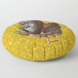 Relaxing Gorilla on Gold-leaf Screen Floor Pillow