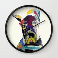 great dane Wall Clocks featuring Wally the great dane by bri.buckley