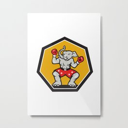 Elephant Mascot Boxer Cartoon Metal Print