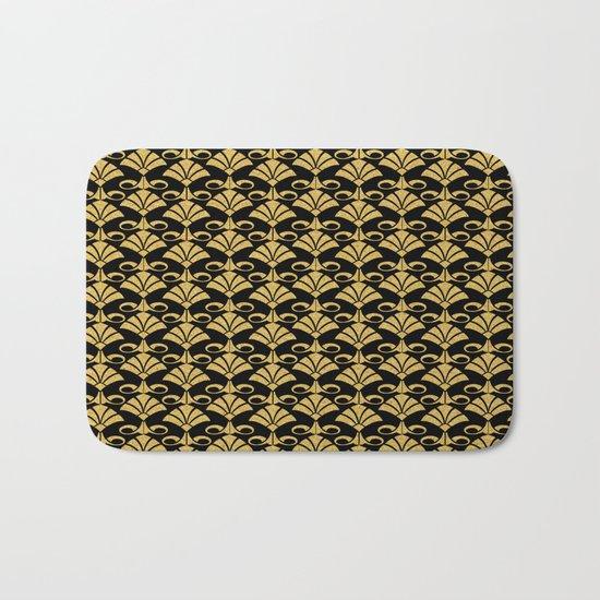 Wonderful gold glitter art deco pattern on black backround I- Luxury design for your home Bath Mat