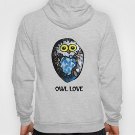 Owl Love Rock Painting on River Rock by annmariescreations Hoody