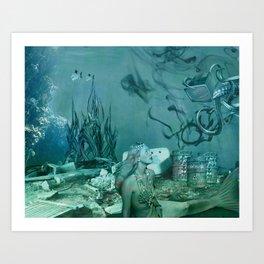 Garbage Mermaid Art Print