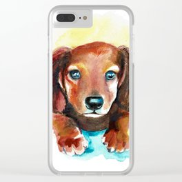 Dachshund Watercolor Painting Art Clear iPhone Case