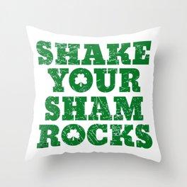 Shake Your Shamrocks Green Irish Distressed St Patrick product Throw Pillow