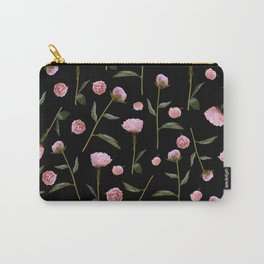 Peonies on Black Carry-All Pouch