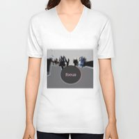 focus V-neck T-shirts featuring focus by cubik rubik