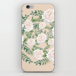 Garden Roses Mandala Pink Green Cream iPhone Skin